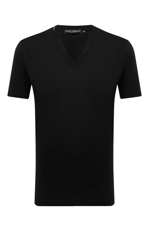 Купить Хлопковая футболка с V-образным вырезом Dolce & Gabbana, 0101/G8GI6T/FU7EQ, Италия, Черный, Хлопок: 100%;