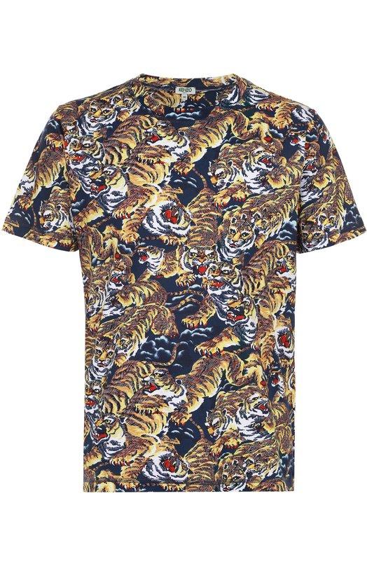 Хлопковая футболка с принтом Kenzo F665TS0564YI