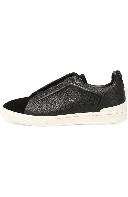 Кожаные кеды на шнуровке с замшевым мысом Zegna Couture A2511XABL