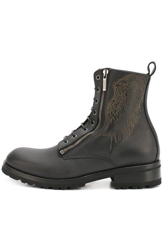 Кожаные ботинки на шнуровке с молнией Roberto Cavalli 100/E/M/B/M00N