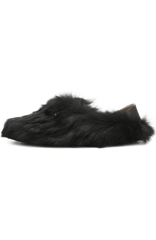 Домашние кожаные туфли с отделкой из натурального меха Fendi 7P0995/8G1