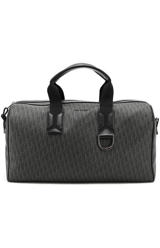 Текстильная дорожная сумка с отделкой из натуральной кожи Dior 1DEDU043XIS