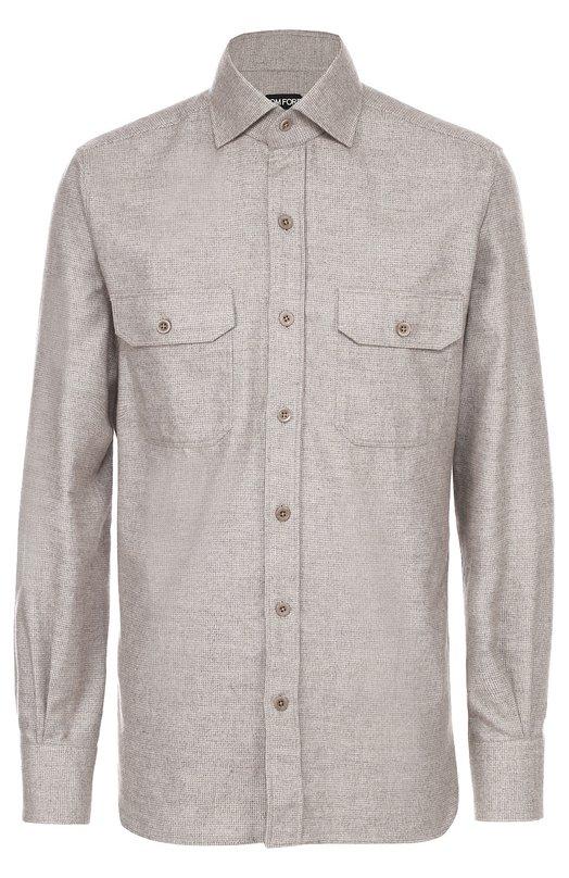 Хлопковая рубашка с воротником кент Tom FordРубашки<br><br><br>Российский размер RU: 42<br>Пол: Мужской<br>Возраст: Взрослый<br>Размер производителя vendor: 42<br>Материал: Хлопок: 100%;<br>Цвет: Темно-бежевый