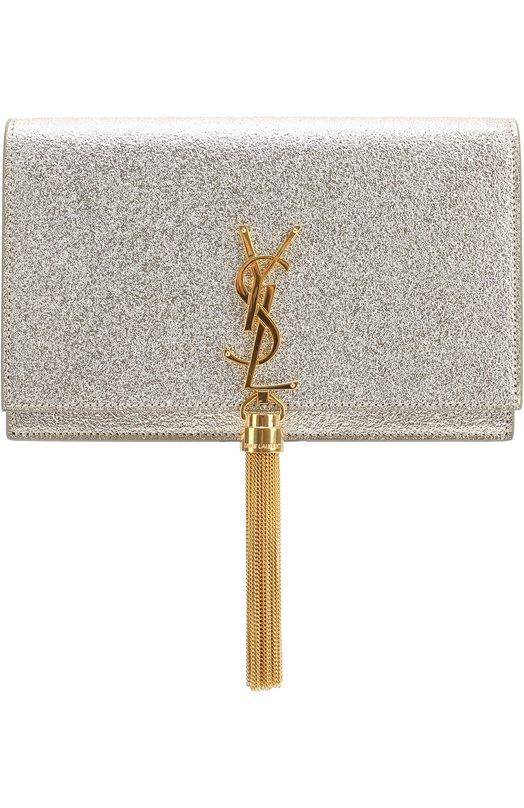 Сумка Monogram из металлизированной кожи Saint LaurentКлатчи и вечерние сумки<br><br><br>Пол: Женский<br>Возраст: Взрослый<br>Размер производителя vendor: NS<br>Материал: Кожа натуральная: 100%;<br>Цвет: Золотой