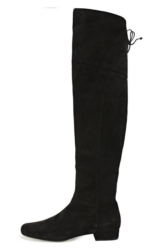 Замшевые ботфорты Babies с декоративной шнуровкой Saint Laurent 438285/C2000
