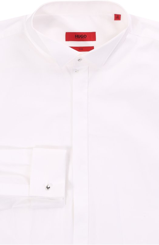Хлопковая приталенная сорочка с воротником бабочка HUGOРубашки<br><br><br>Российский размер RU: 40<br>Пол: Мужской<br>Возраст: Взрослый<br>Размер производителя vendor: 40<br>Материал: Хлопок: 100%;<br>Цвет: Белый