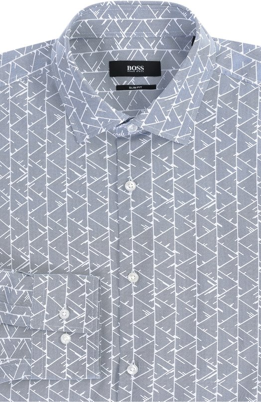 Хлопковая приталенная рубашка с принтом BOSSРубашки<br><br><br>Российский размер RU: 45<br>Пол: Мужской<br>Возраст: Взрослый<br>Размер производителя vendor: 45<br>Материал: Хлопок: 100%;<br>Цвет: Синий