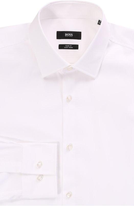 Хлопковая приталенная сорочка с воротником кент BOSSРубашки<br><br><br>Российский размер RU: 42<br>Пол: Мужской<br>Возраст: Взрослый<br>Размер производителя vendor: 42<br>Материал: Хлопок: 100%;<br>Цвет: Белый