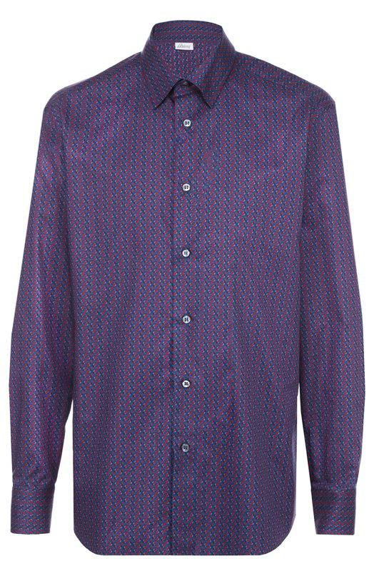 Хлопковая рубашка с узором Brioni, SC91/0502T, Италия, Синий, Хлопок: 100%;  - купить