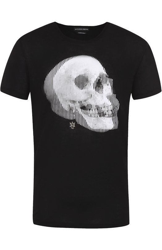 Хлопковая футболка с принтом Alexander McQueenФутболки<br><br><br>Российский размер RU: 46<br>Пол: Мужской<br>Возраст: Взрослый<br>Размер производителя vendor: S<br>Материал: Хлопок: 100%;<br>Цвет: Черный