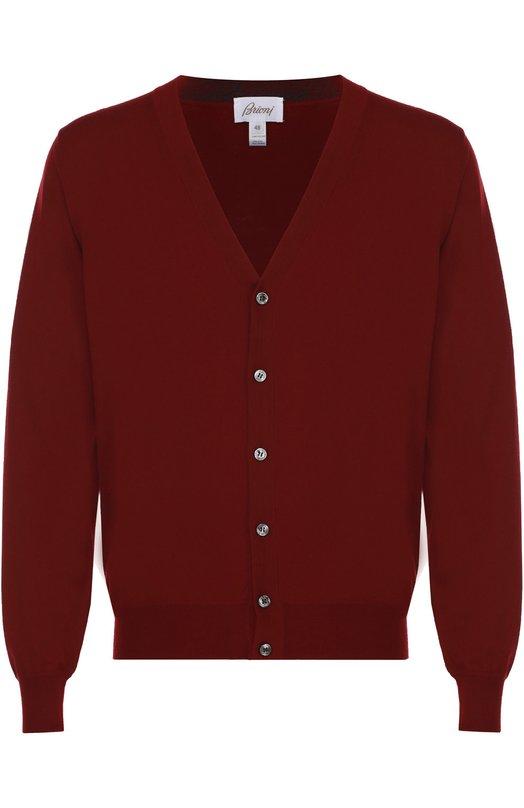 Купить Шерстяной кардиган с V-образным вырезом Brioni, UMS3/0ZK10, Италия, Бордовый, Шерсть: 100%;