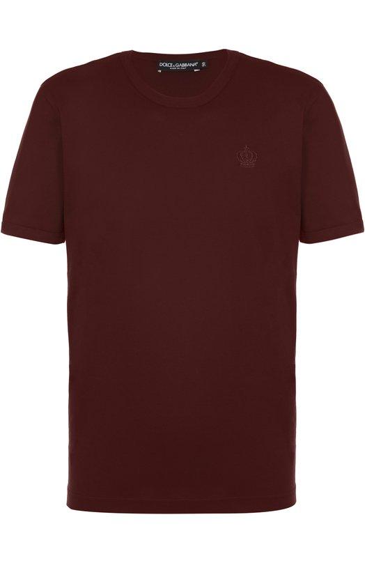 Хлопковая футболка с круглым вырезом Dolce &amp; GabbanaФутболки<br><br><br>Российский размер RU: 54<br>Пол: Мужской<br>Возраст: Взрослый<br>Размер производителя vendor: 52<br>Материал: Хлопок: 100%;<br>Цвет: Бордовый