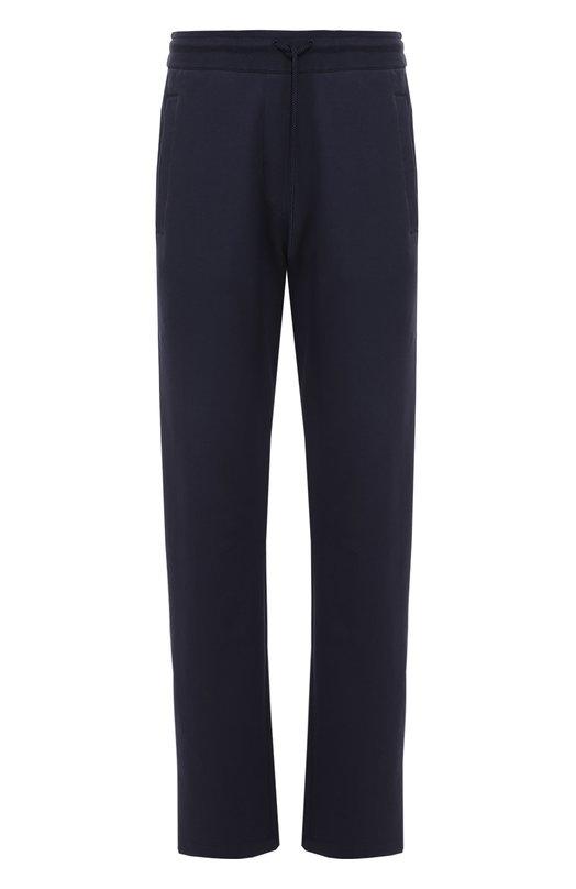 Хлопковые брюки прямого кроя с лампасами Dirk BikkembergsСпорт<br><br><br>Российский размер RU: 48<br>Пол: Мужской<br>Возраст: Взрослый<br>Размер производителя vendor: M<br>Материал: Хлопок: 95%; Эластан: 5%;<br>Цвет: Темно-синий