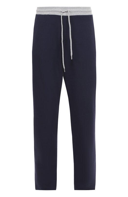 Хлопковые брюки прямого кроя с контрастным поясом Dirk BikkembergsБрюки<br><br><br>Российский размер RU: 50<br>Пол: Мужской<br>Возраст: Взрослый<br>Размер производителя vendor: L<br>Материал: Хлопок: 95%; Эластан: 5%;<br>Цвет: Темно-синий