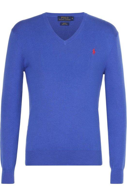 Хлопковый пуловер с логотипом бренда Polo Ralph LaurenСвитеры<br><br><br>Российский размер RU: 46<br>Пол: Мужской<br>Возраст: Взрослый<br>Размер производителя vendor: S<br>Материал: Хлопок: 100%;<br>Цвет: Синий