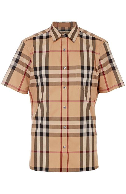 Рубашка из эластичного хлопка с короткими рукавами BurberryРубашки<br><br><br>Российский размер RU: 52<br>Пол: Мужской<br>Возраст: Взрослый<br>Размер производителя vendor: XL<br>Материал: Хлопок: 66%; Эластан: 4%; Полиамид: 30%;<br>Цвет: Бежевый