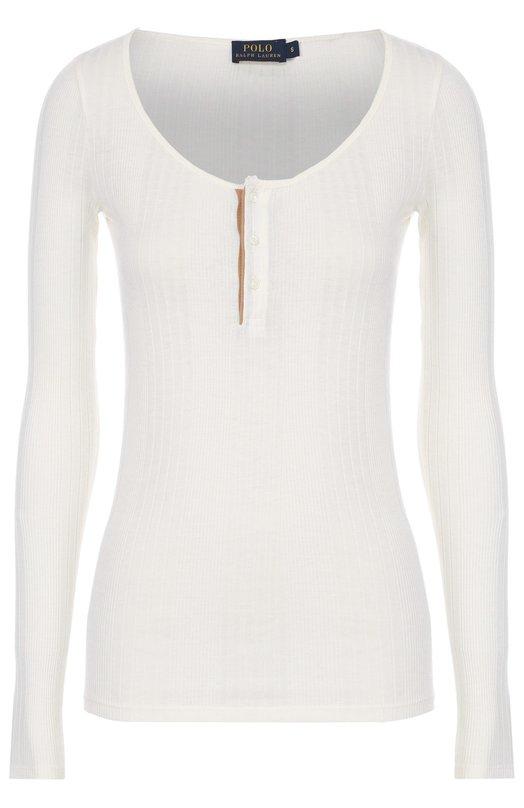 Облегающий пуловер фактурной вязки с круглым вырезом Polo Ralph LaurenСвитеры<br><br><br>Российский размер RU: 40<br>Пол: Женский<br>Возраст: Взрослый<br>Размер производителя vendor: XS<br>Материал: Хлопок: 60%; Лиоселл: 40%;<br>Цвет: Кремовый