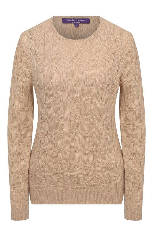 Приталенный кашемировый пуловер фактурной вязки Ralph LaurenСвитеры<br><br><br>Российский размер RU: 42<br>Пол: Женский<br>Возраст: Взрослый<br>Размер производителя vendor: S<br>Материал: Кашемир: 100%;<br>Цвет: Бежевый