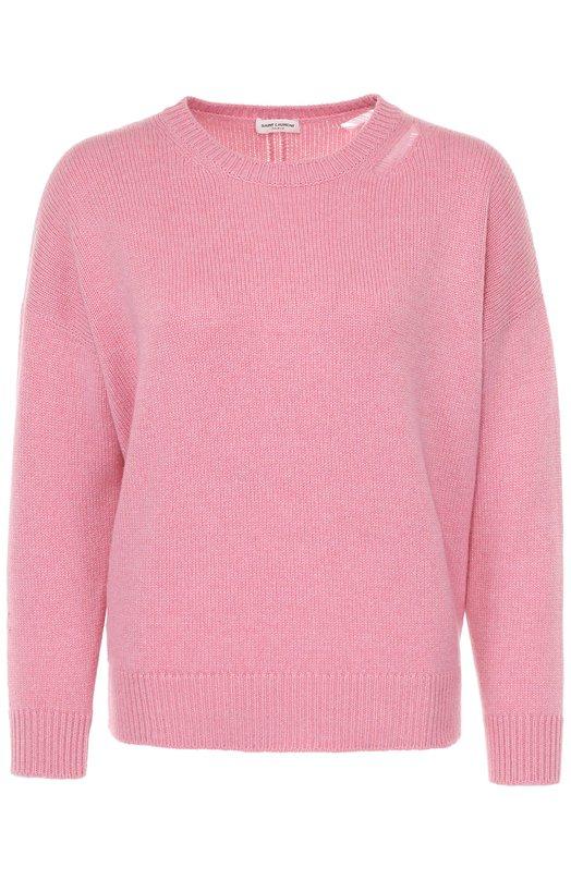 Кашемировый пуловер прямого кроя с круглым вырезом Saint LaurentСвитеры<br><br><br>Российский размер RU: 40<br>Пол: Женский<br>Возраст: Взрослый<br>Размер производителя vendor: XS<br>Материал: Кашемир: 100%;<br>Цвет: Розовый