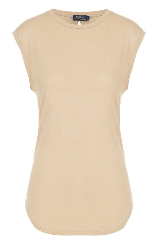 Удлиненная футболка без рукавов Polo Ralph LaurenФутболки<br>Ральф Лорен включил удлиненную футболку бежевого цвета в осенне-зимнюю коллекцию 2016 года. Для производства модели без рукавов с круглым вырезом использована тонкая вискоза. Наши стилисты советуют сочетать с короткими джинсовыми шортами и светлыми кедами и сумкой.<br><br>Российский размер RU: 44<br>Пол: Женский<br>Возраст: Взрослый<br>Размер производителя vendor: M<br>Материал: Вискоза: 74%; Лен: 26%;<br>Цвет: Бежевый