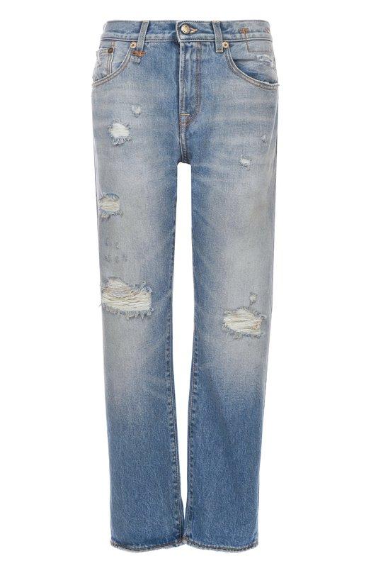 Купить Укороченные джинсы прямого кроя с потертостями R13, R13W0093-164, Италия, Голубой, Хлопок: 98%; Эластан: 2%;