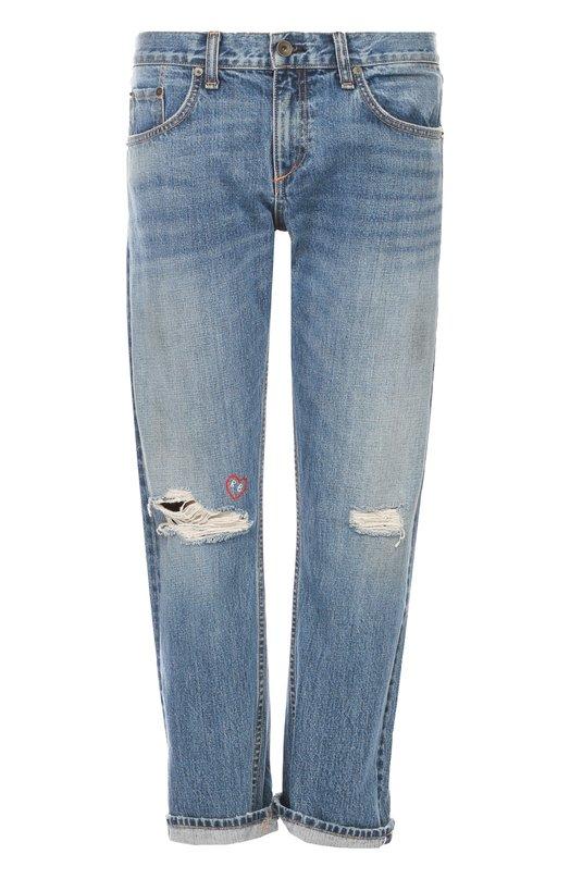 Купить Укороченные джинсы прямого кроя с потертостями Rag&Bone, W1583K168BAL, США, Синий, Хлопок: 100%;