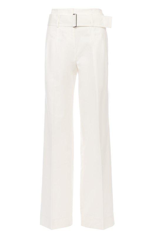 Расклешенные брюки с завышенной талией и широким поясом DKNYБрюки<br><br><br>Российский размер RU: 42<br>Пол: Женский<br>Возраст: Взрослый<br>Размер производителя vendor: 4<br>Материал: Хлопок: 80%; Шелк: 20%;<br>Цвет: Белый