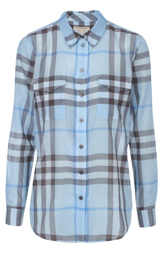 Хлопковая блуза в клетку с накладными карманами Burberry 4021245