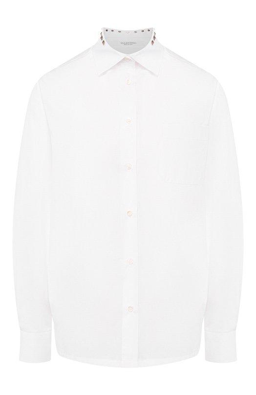 Купить Хлопковая блуза с накладными карманами и декоративными шипами Valentino, LB3AB05X/1LW, Италия, Белый, Хлопок: 100%;