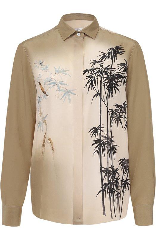 Шелковая блуза прямого кроя с принтом ValentinoБлузы<br><br><br>Российский размер RU: 44<br>Пол: Женский<br>Возраст: Взрослый<br>Размер производителя vendor: 42<br>Материал: Шелк: 100%;<br>Цвет: Оливковый