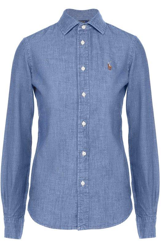 Приталенная хлопковая блуза с вышитым логотипом бренда Polo Ralph LaurenБлузы<br><br><br>Российский размер RU: 46<br>Пол: Женский<br>Возраст: Взрослый<br>Размер производителя vendor: 8<br>Материал: Хлопок: 100%;<br>Цвет: Синий