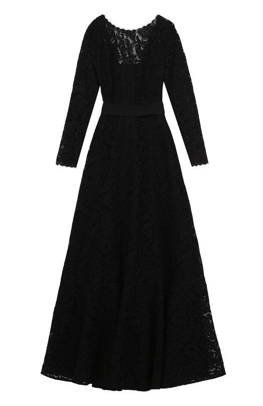 Приталенное кружевное платье с открытой спиной EscadaПлатья<br><br><br>Российский размер RU: 54<br>Пол: Женский<br>Возраст: Взрослый<br>Размер производителя vendor: 46<br>Материал: Полиамид: 8%; Хлопок: 74%; Вискоза: 18%; Подкладка-шелк: 100%;<br>Цвет: Черный