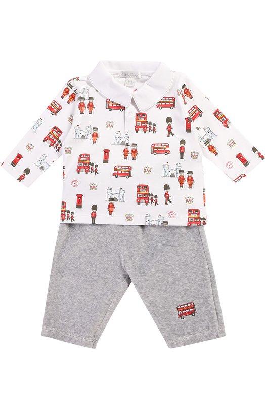 Пижама из хлопка Kissy KissyОдежда<br><br><br>Размер Months: 9<br>Пол: Женский<br>Возраст: Для малышей<br>Размер производителя vendor: 74-80cm<br>Материал: Хлопок: 100%;<br>Цвет: Серый