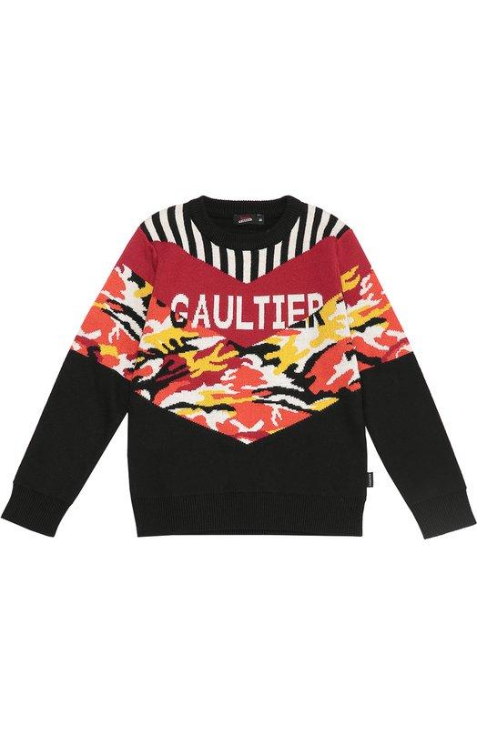 Шерстяной джемпер с контрастным принтом Jean Paul Gaultier 5I18514/4-6A