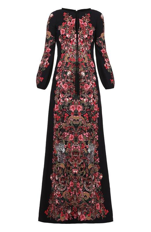 Приталенное платье в пол с ярким принтом и длинным рукавом Roberto CavalliПлатья<br><br><br>Российский размер RU: 40<br>Пол: Женский<br>Возраст: Взрослый<br>Размер производителя vendor: 38<br>Материал: Вискоза: 95%; Эластан: 5%; Подкладка-шелк: 100%;<br>Цвет: Черный