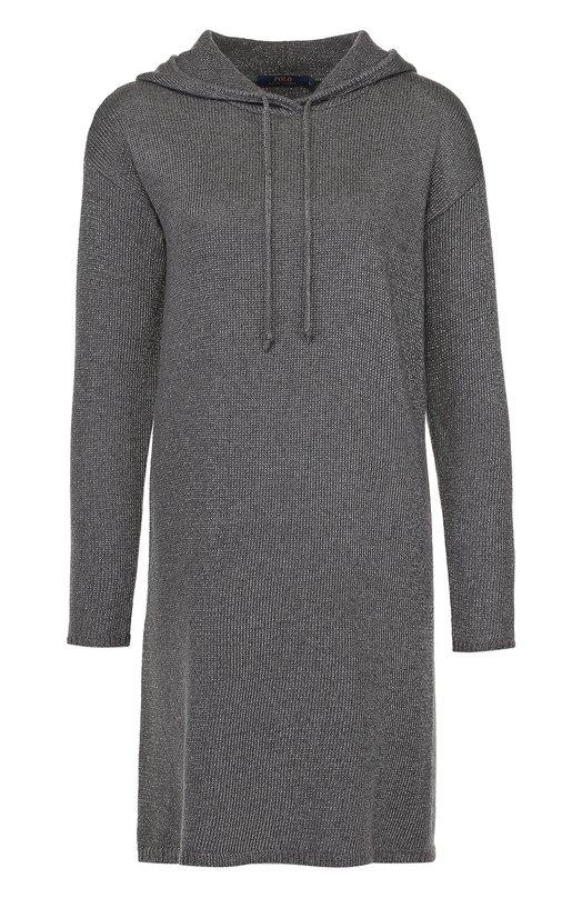 Вязаное платье прямого кроя с капюшоном Polo Ralph LaurenПлатья<br><br><br>Российский размер RU: 52<br>Пол: Женский<br>Возраст: Взрослый<br>Размер производителя vendor: XL<br>Материал: Шерсть меринос: 37%; Вискоза: 31%; Кашемир: 16%; Металлизированное волокно: 16%;<br>Цвет: Серый