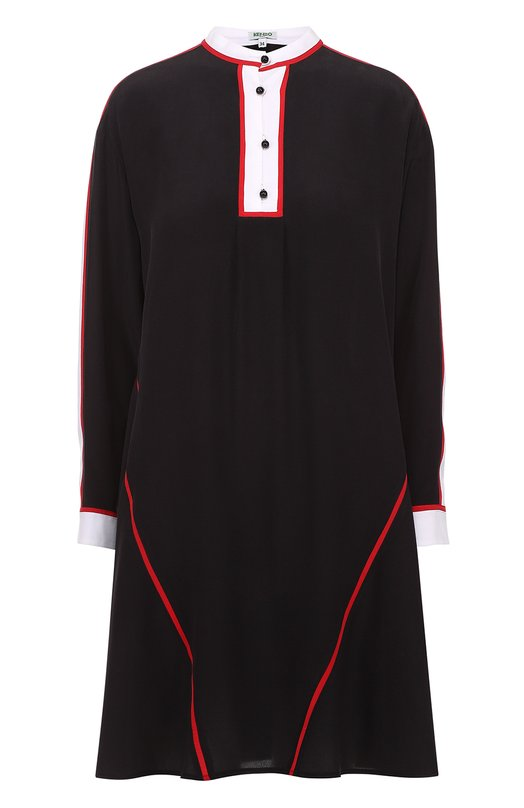 Шелковое мини-платье свободного кроя с контрастной отделкой KenzoПлатья<br><br><br>Российский размер RU: 46<br>Пол: Женский<br>Возраст: Взрослый<br>Размер производителя vendor: 40<br>Материал: Шелк: 100%;<br>Цвет: Черный