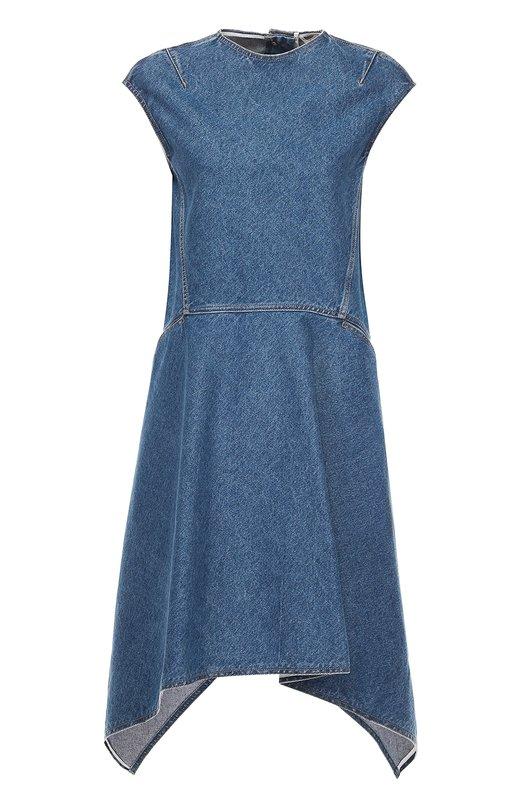 Джинсовое платье асимметричного кроя без рукавов Balenciaga 436270/TSB06