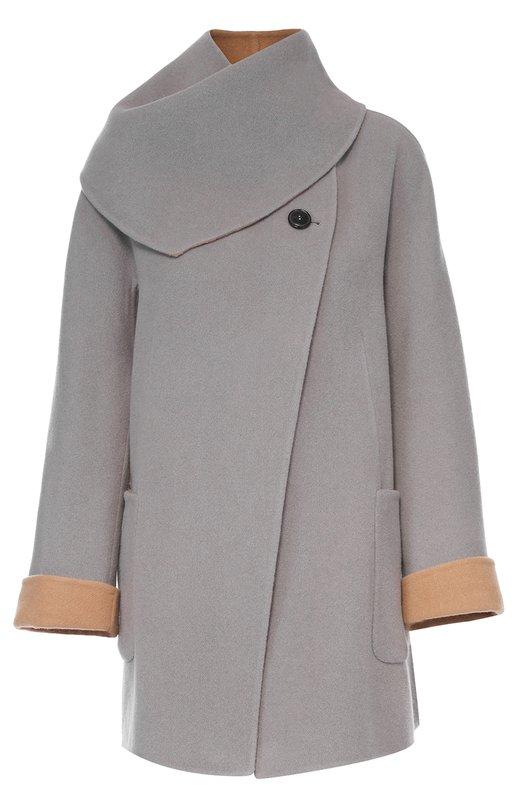 Купить Шерстяное пальто прямого кроя с отстегивающимся воротником Giorgio Armani, UAB03W/UA195, Италия, Серый, Шерсть: 80%; Ангора: 20%;