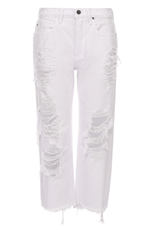 Укороченные джинсы прямого кроя с потертостями Denim X Alexander Wang 413777