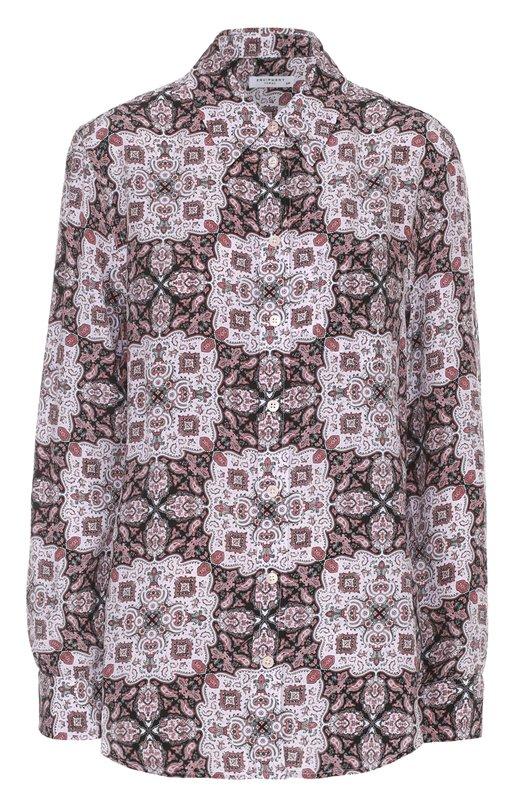 Шелковая блуза прямого кроя с принтом EquipmentБлузы<br><br><br>Российский размер RU: 42<br>Пол: Женский<br>Возраст: Взрослый<br>Размер производителя vendor: S<br>Материал: Шелк: 100%;<br>Цвет: Розовый