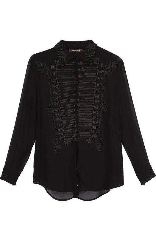 Шелковая блуза прямого кроя с декоративной отделкой Roberto CavalliБлузы<br><br><br>Российский размер RU: 44<br>Пол: Женский<br>Возраст: Взрослый<br>Размер производителя vendor: 42<br>Материал: Шелк: 100%;<br>Цвет: Черный