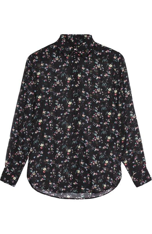 Шелковая полупрозрачная блуза с ярким принтом Saint Laurent 395733/Y331L