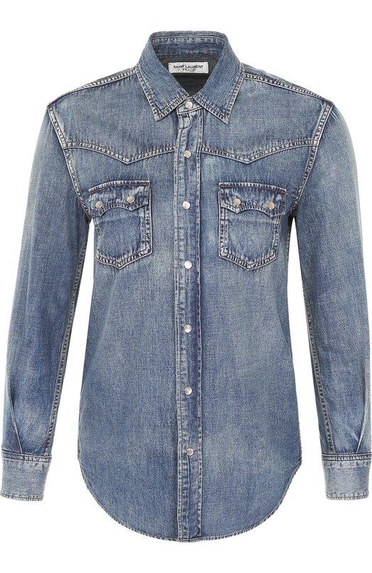 Приталенная джинсовая блуза с накладными карманами Saint LaurentБлузы<br><br><br>Российский размер RU: 48<br>Пол: Женский<br>Возраст: Взрослый<br>Размер производителя vendor: L<br>Материал: Хлопок: 80%; Лен: 20%;<br>Цвет: Синий