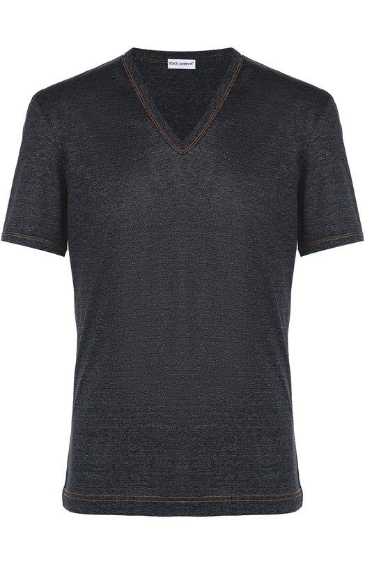 Хлопковая футболка с V-образным вырезом Dolce &amp; GabbanaФутболки<br><br><br>Российский размер RU: 54<br>Пол: Мужской<br>Возраст: Взрослый<br>Размер производителя vendor: 6<br>Материал: Хлопок: 100%;<br>Цвет: Синий