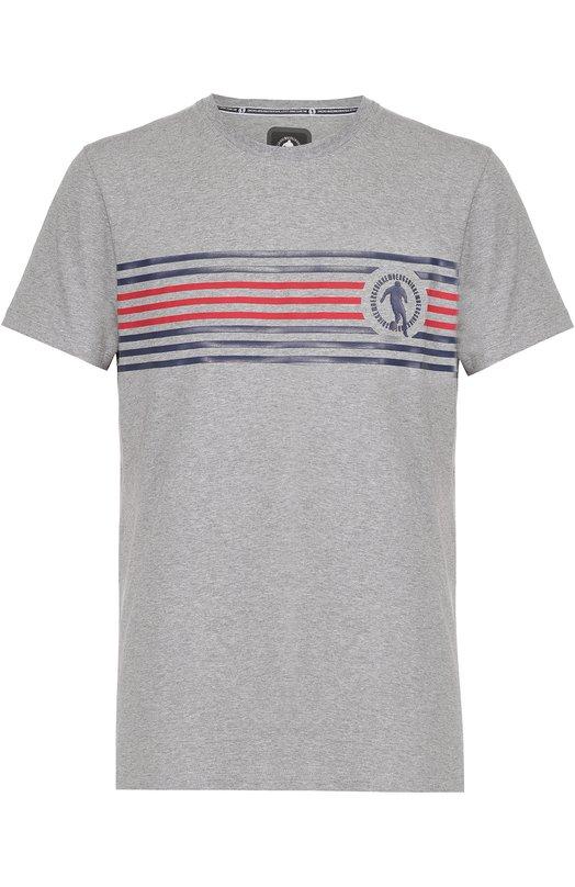 Хлопковая футболка с контрастным принтом Dirk BikkembergsФутболки<br><br><br>Российский размер RU: 46<br>Пол: Мужской<br>Возраст: Взрослый<br>Размер производителя vendor: S<br>Материал: Хлопок: 94%; Эластан: 6%;<br>Цвет: Серый