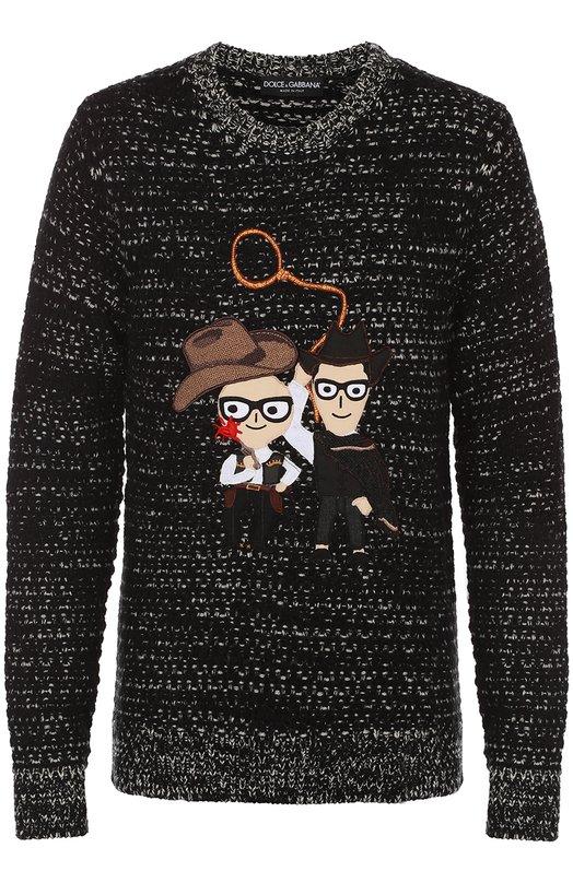 Шерстяной свитер с аппликацией DG Family Dolce &amp; GabbanaСвитеры<br><br><br>Российский размер RU: 56<br>Пол: Мужской<br>Возраст: Взрослый<br>Размер производителя vendor: 54<br>Материал: Отделка-хлопок: 40%; Отделка-шерсть: 25%; Отделка-вискоза: 20%; Отделка-ацетат: 15%; Шерсть: 100%;<br>Цвет: Серый