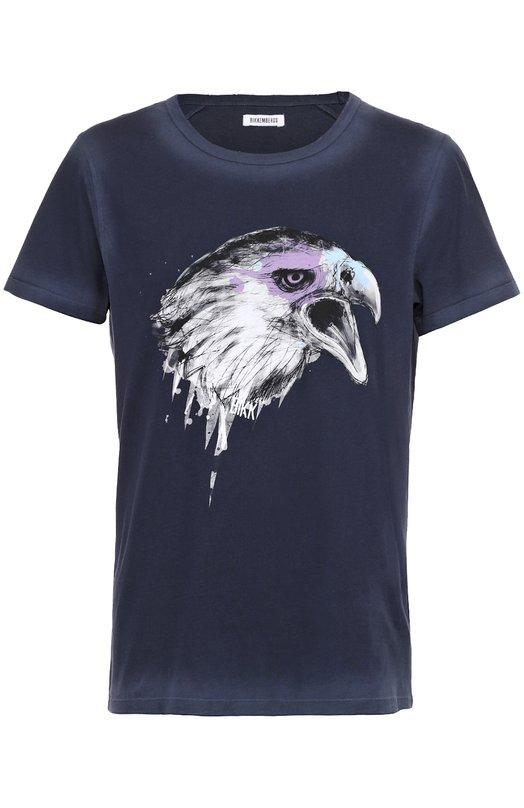 Хлопковая футболка с принтом Dirk BikkembergsФутболки<br><br><br>Российский размер RU: 48<br>Пол: Мужской<br>Возраст: Взрослый<br>Размер производителя vendor: M<br>Материал: Хлопок: 100%;<br>Цвет: Темно-синий