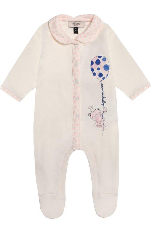 Пижама из хлопка с принтом Giorgio ArmaniОдежда<br><br><br>Размер Months: 6<br>Пол: Женский<br>Возраст: Для малышей<br>Размер производителя vendor: 68-74cm<br>Материал: Хлопок: 100%;<br>Цвет: Белый