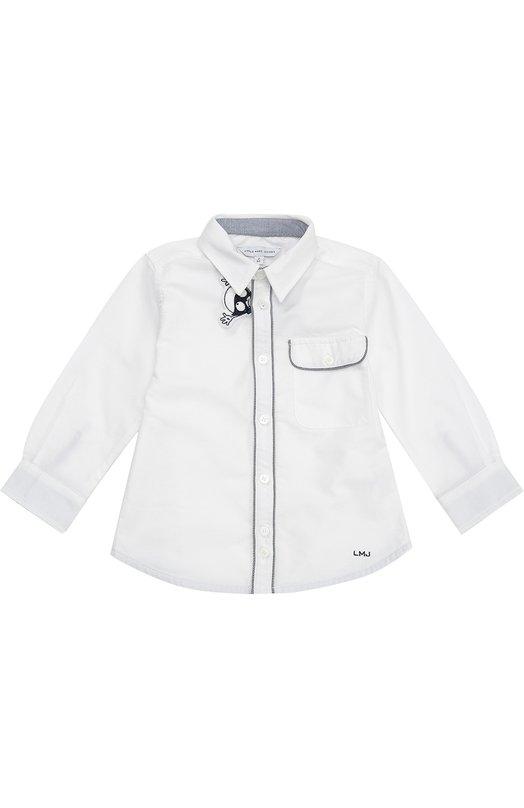 Хлопковая рубашка со съемной нашивкой Marc JacobsРубашки<br><br><br>Размер Years: 4<br>Пол: Мужской<br>Возраст: Детский<br>Размер производителя vendor: 104-110cm<br>Материал: Хлопок: 100%;<br>Цвет: Белый